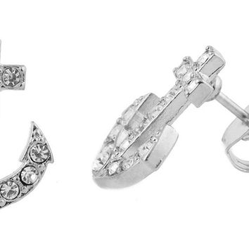 Silver Iced Out Anchor Stud Earrings