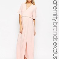 Club L Maternity | Club L Maternity Kimono Sleeved Maxi Dress With Plunge Front at ASOS