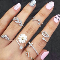 2016 New Cute Sweet Style Crystal Rhinestone 3pcs\set Leaf Crown Cross Midi Knuckle Finger Joint Rings women