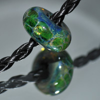 SRA - OOAK - Sea Thru Zirconia Handmade Double Helix Glass Bead Made In USA