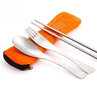 New 3pcs/set Portable Stainless Steel Tableware Camping Bag Picnic Set Fork Ladle for Picnic Outdoor Travel