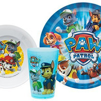 Zak! Designs Mealtime Set with Plate, Bowl and Tumbler featuring Paw Patrol Graphics, Break-resistant and BPA-free plastic, 3 Piece Set