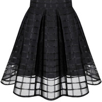 Black Plaid Mesh Mini Skater Skirt