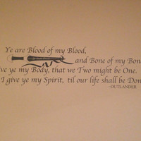 Outlander Blood Vow Quote interior Wall decal custom sticker