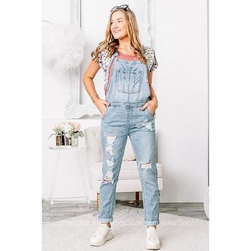 Your Last Chance Distressed Girlfriend Overalls