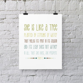 Bible Verse Art  -  Psalm 1:3 - Scripture Print