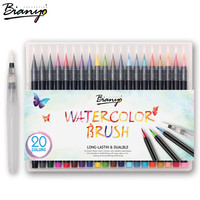 Bianyo 20 Colors Brush Pen Sketch Drawing Watercolor Marker Set For School Children Painting Manga Brush Stationery Art Supplies