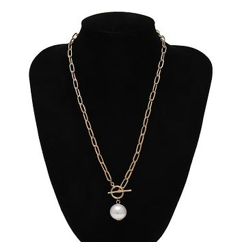 Fashion Accessories and Jewelry Gothic Baroque Pearl Pendant Choker Necklace