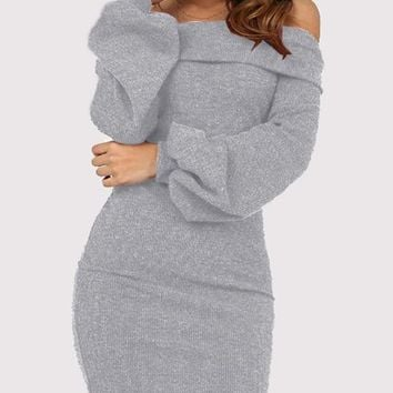 New Grey Off Shoulder Long Sleeve Cocktail Party Mini Dress