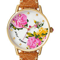 BJS SLIM COGNAC AND GOLD FLORAL WATCH