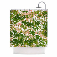 """Ebi Emporium """"In The Meadow 2 - Green Pink"""" Green White Shower Curtain"""