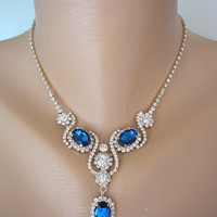 SAPPHIRE Bridal Set, Bridal Jewelry, Rhinestone Choker, Mother of the Bride, Navy Blue, Montana Blue, Bridesmaid Gift, Gift for Her