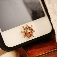 1PC Bling Crystal Wheel Alloy iPhone Home Button by happyphonecase
