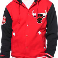NBA Mitchell and Ness Bulls 2nd Quarter Red Varsity Jacket