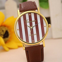 Geneva Platinum Women's Faux Leather Band Watch Brown Stripe Large Face Dial