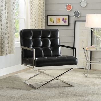 Acme 59776 Rafael black faux leather and stainless steel chair
