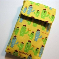 CUTE CACTUS Fabric Cell Phone sleeve pouch gadget case | Nancym4 - Accessories on ArtFire