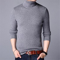 Mens Sweaters Autumn Winter Thick Warm Pullover Men Knitted Cashmere Wool Sweater Men Heavy Turtleneck Jumper