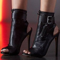 Ankle Boots High Heels Women Shoes Peep Toe Sexy Lady Boots Party Thin Heeled Shoes