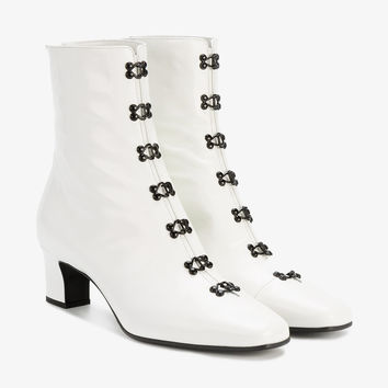 MID-HEEL ANKLE BOOTS WITH HOOK AND EYE DETAILING