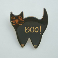 Black Cat Ceramic Pin BOO Halloween Jewelry