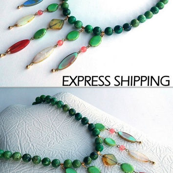 Beaded Necklace, Green Necklace, Valentine Day Gift, Gemstone Necklace, Chrysoprase Necklace, Semi Precious Gemstone, Gift For Her