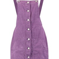 Button Cord Pinafore Dress | Boohoo