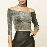 Glitter Knit Choker Crop Top