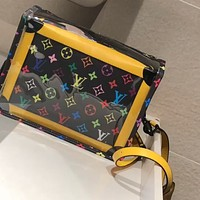 LV Tide brand transparent jelly bag camera bag box bag messenger bag two piece set