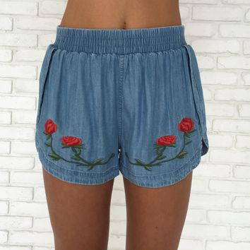 Red Rosemary Embroider Denim Shorts