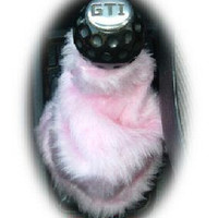 Baby pink cute faux fur furry fluffy fuzzy gear stick gear shift gaiter cover car boot sleeve cover girly girl light