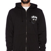 Stussy 8 Ball Shadow Zip Hood in Black & White