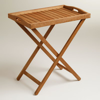 Outdoor Wood Tray Table - World Market