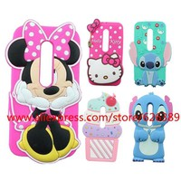 For Motorola Moto G3 Case Minnie Stitch Hello Kitty Cupcakes Unicorn Tiger Cat Rabbit Rubber Cell Phone Cases Cover For Moto G3
