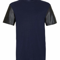 NAVY LEATHER LOOK SLEEVE T-SHIRT - Men's T-Shirts & Vests - Clothing - TOPMAN