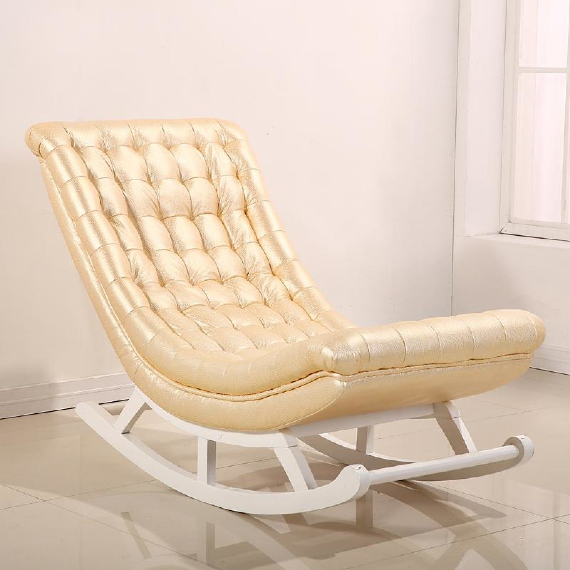 Image of Glossy Leather Rocking Chair