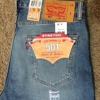 NWT Levis 501 Original Button Fly Blue Jeans with 2 Way Stretch (2333)