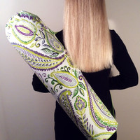 Handmade Yoga Mat Bag, Tote, Mat Carrier - Multi Color with Green Lining, Round Base, with Shoulder Strap and Drawstring