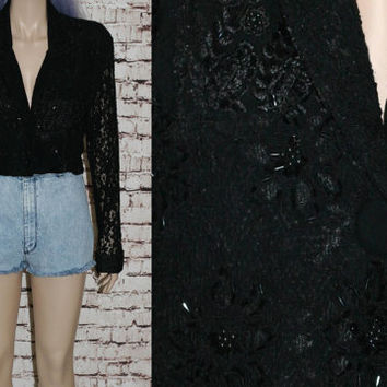 90s Cropped Blazer Jacket Black Lace Beaded Floral 40s 50s Rockabilly Pun Up Victorian Steampunk Hipster boho Gothic Grunge goth cyber S M