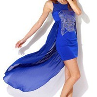Sexy royal blue high low chiffon cape bejeweled party mini dress -AFFORDABLE SEXY PARTY DRESSES, CLUBWEAR 21