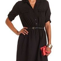 Belted Woven Shirt Dress: Charlotte Russe
