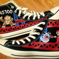 Donkey Kong Hand Painted Converse Shoes