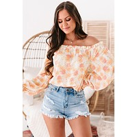 Love Comes First Long Sleeve Off The Shoulder Floral Print Top (Ivory/Yellow)
