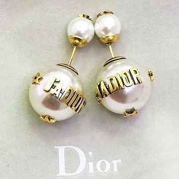 DIOR Fashion Women Letter Bee Pearl Earrings Jewelry Accessories