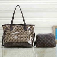 LV Louis Vuitton new transparent printed letters ladies two-piece shoulder bag Coffee