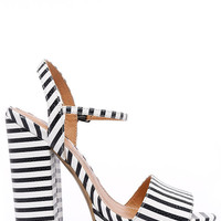 Chinese Laundry Abie Black and White Striped Platform Sandals
