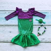 Child Little Mermaid Trumpet Sequins Fancy Dress Costume Kid Girls Party Cosplay