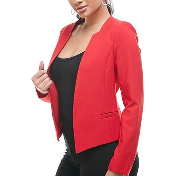 Open Front Long Sleeve Fully Lined Collarless Blazer Jacket