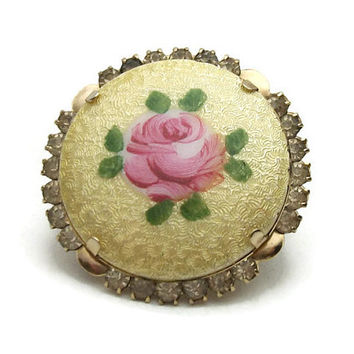 Vintage Guilloche Gold Enamel Pink Rose Clear Rhinestone Brooch Pin - Round Gold Tone Floral Circle Pin - Flower and Leaves