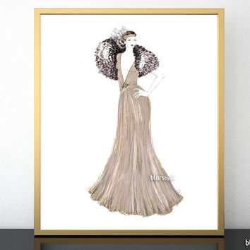 Fashion illustration print: 1920's gown in neutrals and gold